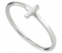 Ring 5/- Sterling Silber rhodiniert Kreuz