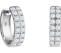 Creolen, 585er Weißgold mit Diamanten
