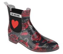 Chelsea Boots Gummi-Optik Blumenmuster Elastik-Einsatz