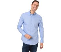 Hemd, Button-Down-Kragen, gemusterte Einsätze, für Herren, hellblau