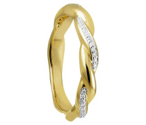 Ring Gelbgold 375 mit 33 Diamanten, zus. ca. 0,07 ct.