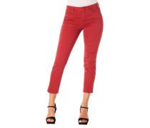 Jeans Skinny Fit 7/8 Falten-Details Capri-Stil