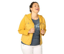 Jeansjacke Kapuze Reißverschluss Große Größen