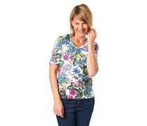 "T-Shirt ""Edda"" Shaped Fit Blumenprint V-Ausschnitt"
