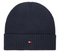 Mütze, Rippstrick, Kaschmiranteil, Umschlag, navyblau