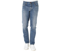 Jeans Regular Slim Fit Used-Look tonige Nähte