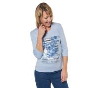 Shirt Bio-Baumwolle 3/4-Arm floral Strass