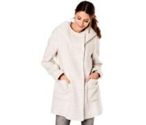 Mantel, Woll-Anteil, Kapuze, Bouclé-Optik, für Damen
