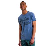 T-Shirt reine Baumwolle Schrift-Print Melange