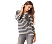 Shirt 3/4-Arm Streifen Feinstrick Pailletten-Perlen-Detail