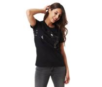 T-Shirt Metall-Nieten glänzender Front-Print