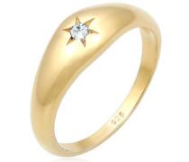 Ring Siegelring Stern Swarovski® Kristalle 5er Silber  mm