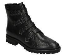 Boots, Glattleder, Nieten-Design, Riemen, Reißverschluss