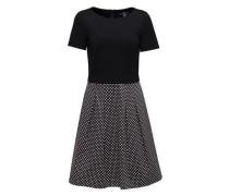 Midi-Kleid, Kurzarm, gepunktet, tailliert, U-Boot-Ausschnitt, für Damen, E003