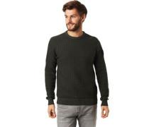 Pullover, Strukturmuster, Rippenbündchen, für Herren, dunkel, L