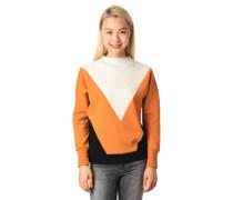Sweatshirt Blockfarben Stehkragen Ripp-Bündchen