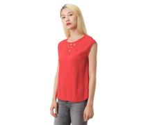 T-Shirt bestickter Ausschnitt Cut-Outs Kappärmel abgerundeter Saum