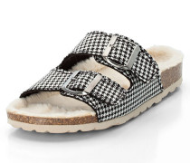 Tieffußbett-Pantoletten im Hahnentritt-Muster, /weiß, 39
