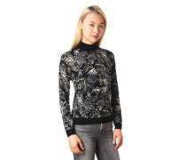 Pullover Allover-Print Stehkragen Ripp-Bündchen