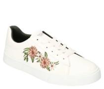 Sneaker Blumen-Stickerei Schnürung Lederimitat