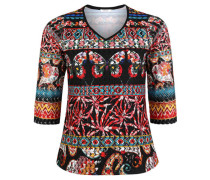 Shirt 3/4-Arm Muster-Mix Spitzen-Besatz Schmetterlings-Details Große Größen
