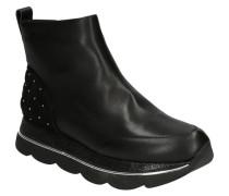 Boots, Plateaueder-Mix, gestepptes Detail, Nieten, Reißverschluss,