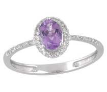 Diamant-Ring, Weißgold 375, Amethyst, zus. ca 0,09 ct