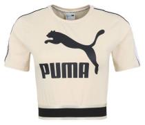 T-Shirt cropped Logo-Print Reflektoren Gummibund