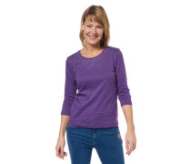 Shirt Bio-Baumwolle 3/4-Arm gestreift Strass-Besatz