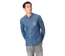 Jeanshemd, Regular Fit, leichte Waschungen, Brusttasche