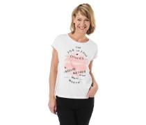 T-Shirt Print Glitzer-Details Ziernieten überschnittene Schultern