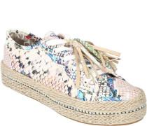 Sneaker, Bast-Plateausohle, Schnürung, glänzende Reptil-Optik, Strass-Bommel,