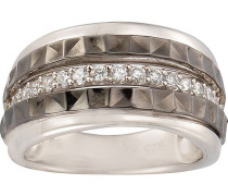 Ring 925/- Sterling Silber bicolor Zirkonia