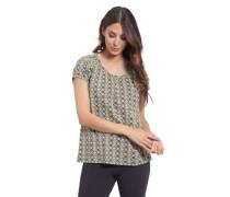 T-Shirt Baumwolle Puff-Ärmel Allover-Print Knopfleiste