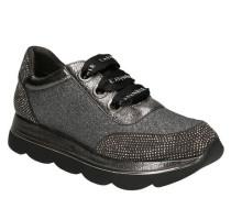 Sneaker, Glitzer, Plateau, Strass, breite Schnürsenkel