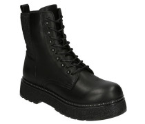 Boots, Schnürung, Glitzer-Sohle, Nieten, Reißverschluss