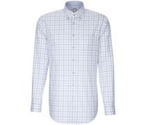Business Hemd Slim Fit Langarm Button-Down-Kragen Karo Mittel /M