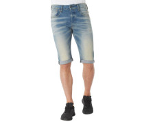 Jeans-Shorts Straight Fit Logo-Stickerei Patch Waschung