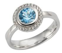 Ring 925/- Sterling  Zirkonia & sy. Blautopas, 60