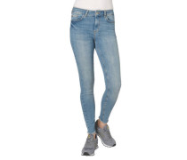 Jeans Slim Fit Fransen an den Enden dezenter Used-Look