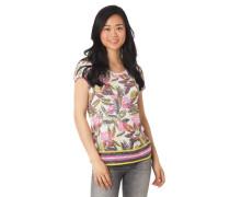 T-Shirt Feinstrick tropischer Blumenprint Streifen-Details