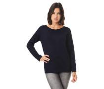Pullover Rollsaum Rippbündchen Stretch uni