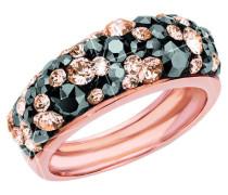 Ring mit zweifarbigen Kristallen rosevergoldet, Rosegold