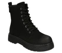 Boots, transparente Glitzer-Sohle, Zugband, Schnürung, Plateau