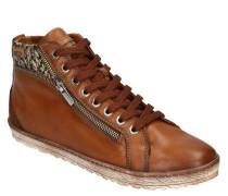 Sneaker Leder gestrickter Schaft seitlicher Reißverschluss