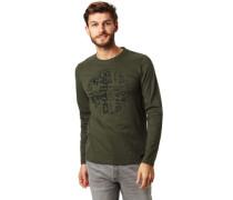 """Shirt, Langarm, auffälliger """"Schrift""""-Print, für Herren, dunkelgrün, L"""