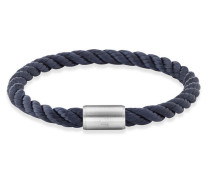 Armband Edelstahl Textilband Navy cm