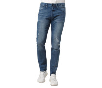 Jeans Slim Fit Super-Stretch Knopfleiste Destroyed Look