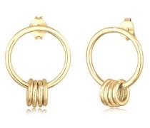 Ohrringe Ohrhänger Kreis Geo Basic Minimal 5er Silber