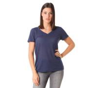 T-Shirt semi-transparente Streifen V-Ausschnitt